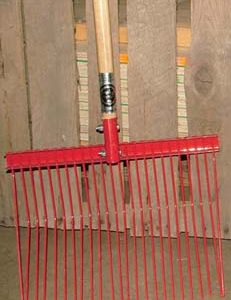 manure fork, rake, horse rake, barn rake, cattle rake, fine cattle rake,
