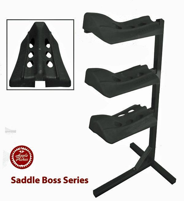 Saddle boss, stackable saddle boss, three arm saddle holder