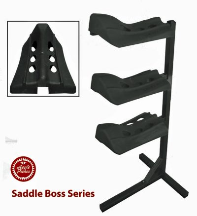Saddle boss, stackable saddle boss, three arm saddle holder