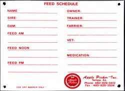 Feed sign, feed tracker, cattle feed schedule, horse feed schedule, horse feed tracker, cattle feed tracker